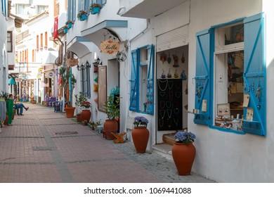 KUSADASI / TURKEY - MAY 2015: Trade touristic street in the centre of Kusadasi, Turkey