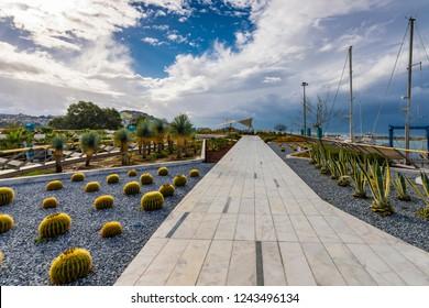 Kusadasi, Turkey - November 28, 2018 : Kusadasi Marina and shopping center view in Kusadasi Town of Turkey.