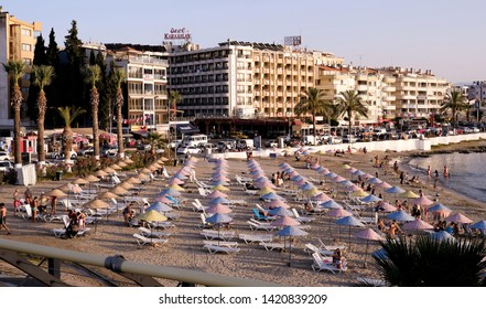 Kusadasi, Turkey - Sep 30, 2017; Kusadasi city beach near marina.