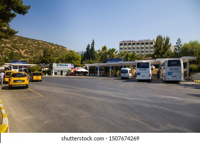 Kusadasi, Turkey - September 17, 2019: Bus station in Kusadasi, Turkey. Coach and dolmus stop and taxi.