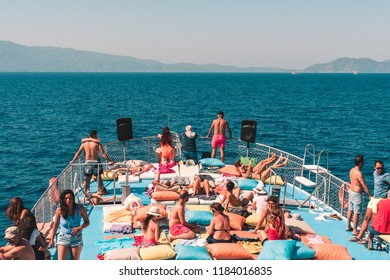 Kusadasi/Turkey - august 16 2018: Boat trip on the amazing beach of Kusadasi,