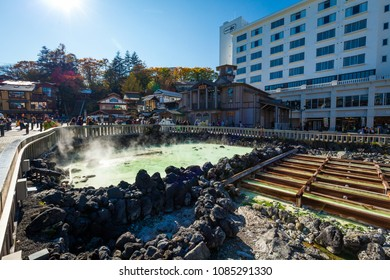 Kusatsu, Gunma / Japan - October 27 2017: View of the central hot spring in the village of Kusatsu