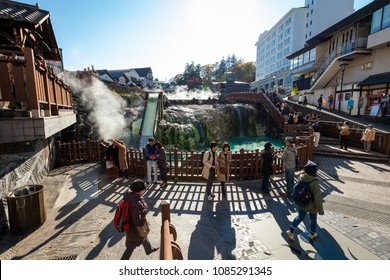 Kusatsu, Gunma / Japan - October 27 2017: View of the central sulfur hot spring in the village of Kusatsu