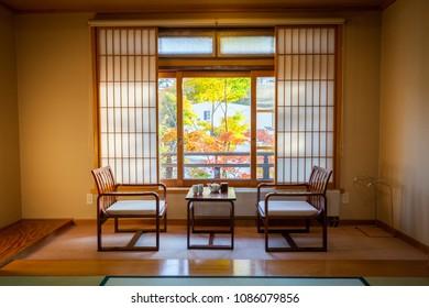 Kusatsu, Gunma / Japan - October 27 2017: A view of a Japanese table set in beautiful traditional Ryokan room at daytime during fall