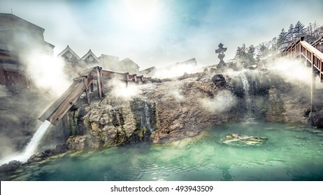 Kusatsu Onsen  Hotspring Yubatake View in Gunma Prefecture,Japan with copy space area for text / suitable for web article about travel or advertisement alike
