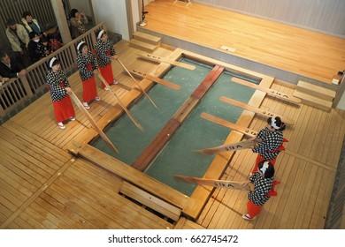 Kusatsu onsen Japan Nov 13, 2015 - Yumomi traditional  performance only in Kusatsu Onsen area