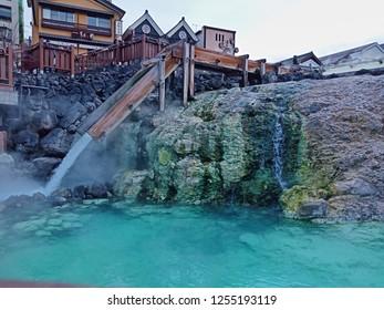 Kusatsu Onsen,Gunma,Japan - December 09, 2018 : Yubatake (hot water field) is one of the most popular sightseeing spot and a symbol of Kusatsu Onsen