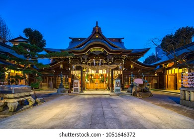 Kushida Shrine in Hakata, Fukuoka, Japan at night.