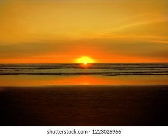 Kuta, Bali / Indonesia - January 1, 2016: sunset view in Kuta beach, Bali