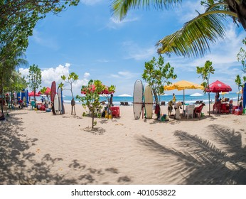KUTA BALI - INDONESIA, JULY 20 : Surfboards on the famous beach on Kuta in Bali Indonesia July 20th, 2015