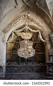 Kuta Hora / Czech Republic - 08.17.2018: The church of bones in Sedlec Ossuary