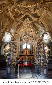 Kuta Hora / Czech Republic - 08.17.2018: The church of bones in Sedlec Ossuary