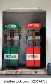 Kuta/Bali - September 12, 2016: Petrol fueling station in Bali - motorcycle filling pumps by the roadside