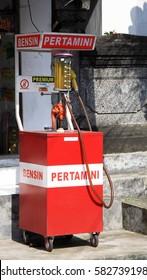Kuta/Bali - September 18, 2016: Petrol fueling station in Bali - motorcycle filling pump by the roadside