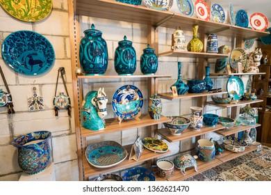 Kutahya - 13, September, 2018: various ceramic art and tiles souvenir market  displays stand in Kutahya. famous with ceramic, Kutahya has many tiles and ceramic manufacturer. Turkey.