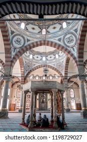 KUTAHYA - TURKEY, April 2018, Built by Sultan Yıldırım Beyazıt and opened in 1410, the fountain inside the Kütahya Grand Mosque.