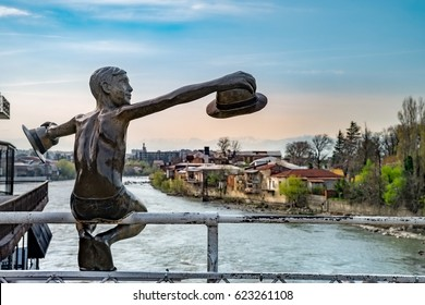 KUTAISI, GEORGIA - APRIL 01, 2017: Sculptures in the central part of city. Kutaisi is the legislative capital of Georgia, and its 3rd most populous city.