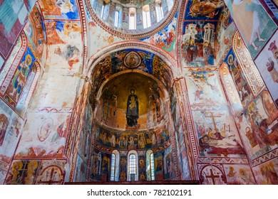 KUTAISI, GEORGIA - OCTOBER 14: Beautiful frescos and interior of Gelati monastery, Kutaisi. Unesco world heritage. October 2016