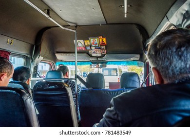 KUTAISI, GEORGIA - OCTOBER 23: First person view as a passenger in marshrutka, common mode of transport in caucasus. October 2016