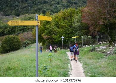 Kutaisi, Georgia - September 26, 2018: Tourists are walking to Martvili Canyon