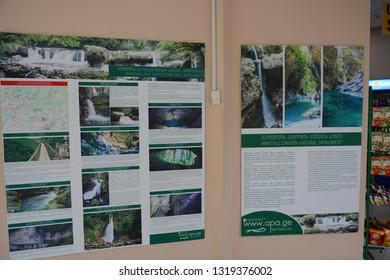 Kutaisi, Georgia - September 26, 2018: Tourist information near Martvili Canyon