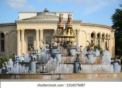 Kutaisi, Georgia - September 27, 2018: View to Colchis Fountain and Meskhishvili Theatre in the centre of Kutaisi