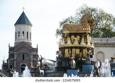 Kutaisi, Georgia - September 27, 2018: View to Colchis Fountain in the centre of Kutaisi