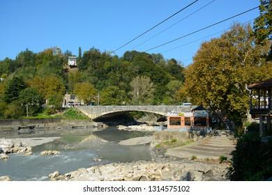 Kutaisi, Georgia - September 27, 2018: View to Rioni River from the bridge