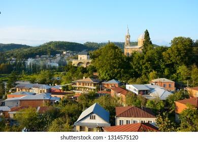 Kutaisi, Georgia - September 27, 2018: Panoramic view to the church and Kutaisi