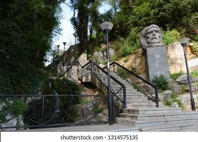Kutaisi, Georgia - September 27, 2018: Stairs to Besic Gabashvili Park