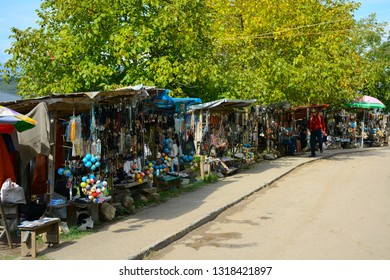 Kutaisi, Georgia - September 27, 2018: Street venders near Gelati Monastery