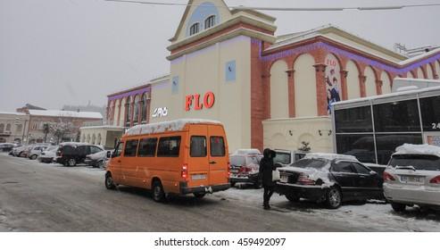 KUTAISI/GEORGIA - JANUARY 4 2016: Streets of Kutaisi City at winter snowy day. Georgia