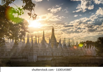 The Kuthodaw Pagoda, Mandalay, Myanmar. Kuthodaw pagoda in Mandalay is a complex (729 pagodas) of marble pavilions, the walls of which are carved texts of Scripture Tripitaka.