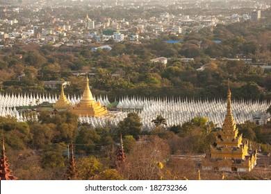 Kuthodaw Pagoda is the World's Biggest Book (Stone Library). Mandalay, Myanmar.  Canon 5D Mk II.