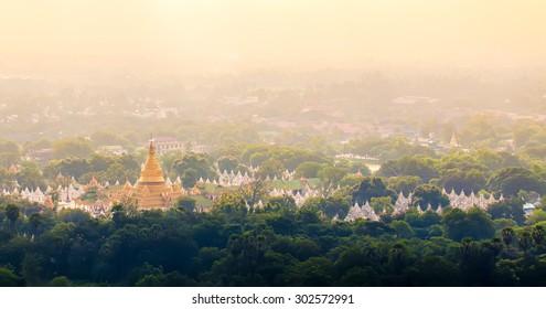 Kuthodaw Pagoda is the World's Biggest Book (Stone Library). Mandalay, Myanmar.