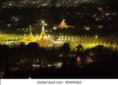 Kuthodaw Pagoda (World's Biggest Book, Stone Library) at the night. Mandalay, Myanmar.  Canon 5D Mk II.