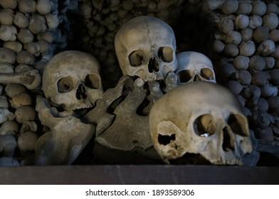 Kutna Hora, Czech Republic - 10.18.2012: view of the Sedlec Ossuary Kostnice Sedlec skull and bones