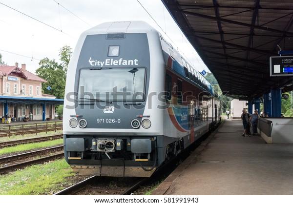 KUTNA HORA, CZECH REPUBLIC - 3 august 2016: Kutna Hora hlavni nadrazi (Kutna Hora main railway station). Prague suburban train City Elefant arrived to station.