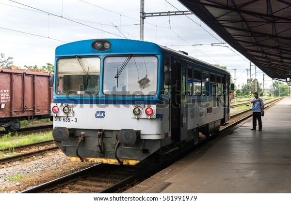 KUTNA HORA, CZECH REPUBLIC - 3 august 2016: Kutna Hora hlavni nadrazi (Kutna Hora main railway station). Sururban train rail bus on station