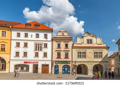 KUTNA HORA, CZECH REPUBLIC - AUGUST 26 2018: Colorful facades of houses in the historic center.