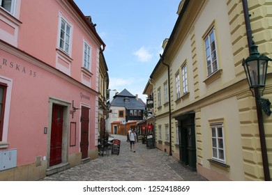 Kutna Hora, Czech Republic – August 2, 2017: Colorful houses in the old town of Kutna Hora.