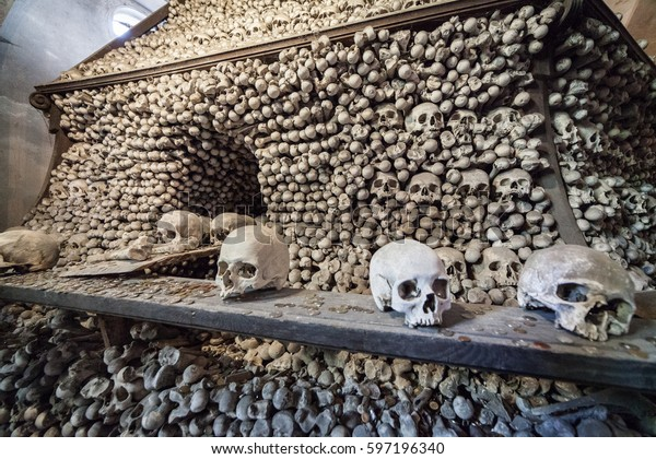 Kutna Hora, Czech Republic - August 08, 2014: Vew of Sedlec Ossuary, Church of Bones in Kutna Hora, designed by real human skeleton bones.