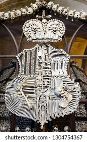 KUTNA HORA, CZECH REPUBLIC - JANUARY 25, 2019: Schwarzenberg family coat of arms in famous Kostnice, or Church of All Saints in Sedlec, Kutna Hora, Czech Republic