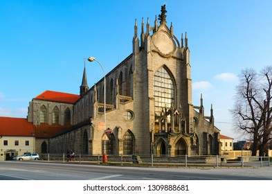 KUTNA HORA, CZECH REPUBLIC - JANUARY 25, 2019: Church of Ascension of Mother of God (Cathedral of Assumption of Virgin Mary and St. John the Baptist) in Sedlec, Kutna Hora, Czech Republic
