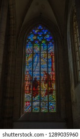 Kutna Hora, Czech Republic - July 15, 2018: Stained glass in the Saint Barbara's Church in Kutna Hora
