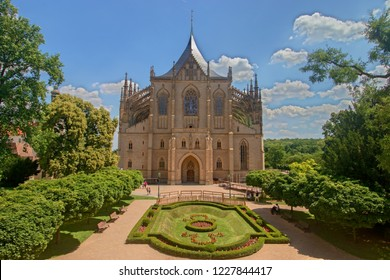 KUTNA HORA, CZECH REPUBLIC - June 21, 2018: Saint Barbara's Church, Roman Catholic church in Kutná Hora in the style of a Cathedral, and is sometimes referred to as the Cathedral of St Barbara