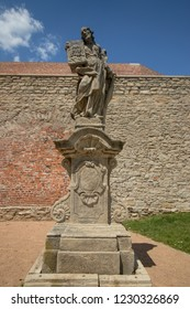 KUTNA HORA, CZECH REPUBLIC - June 21, 2018: Statue near Saint Barbara's Church, Roman Catholic church in Kutná Hora
