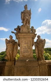 KUTNA HORA, CZECH REPUBLIC - June 21, 2018: Statue near Saint Barbara's Church, Roman Catholic church in Kutná Hora
