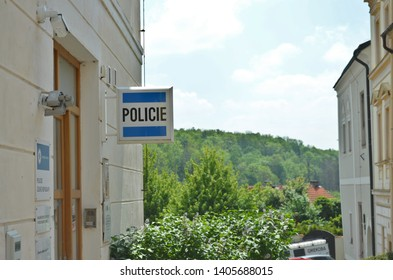 Kutna Hora / Czech Republic - May 19 2019: Czech police (policie) sign on an old house, marking a police station