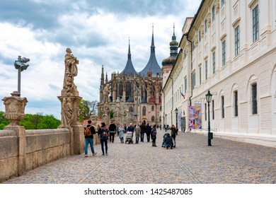 Kutna Hora, Czech Republic - May 2019: Baroque Statues Gallery and  St. Barbara's Church